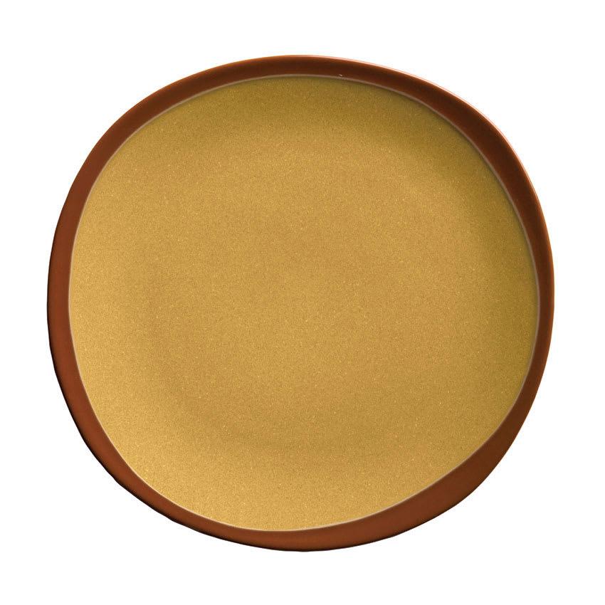 "Syracuse China 922226350 Organic Shaped Plate w/ Narrow Rim, Terracotta, 6.37x .5"", Mustard Seed Yellow"