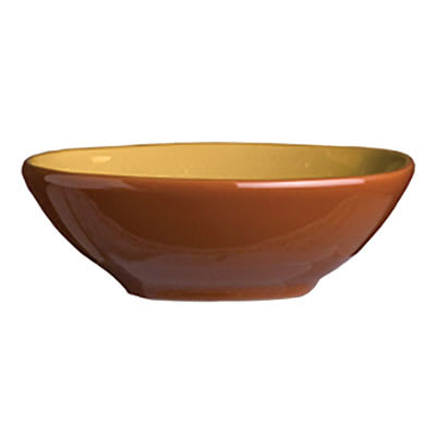 Syracuse China 922226355 4-oz Round Bowl, Terracotta Clay, 2-Tone, Mustard Seed Yellow