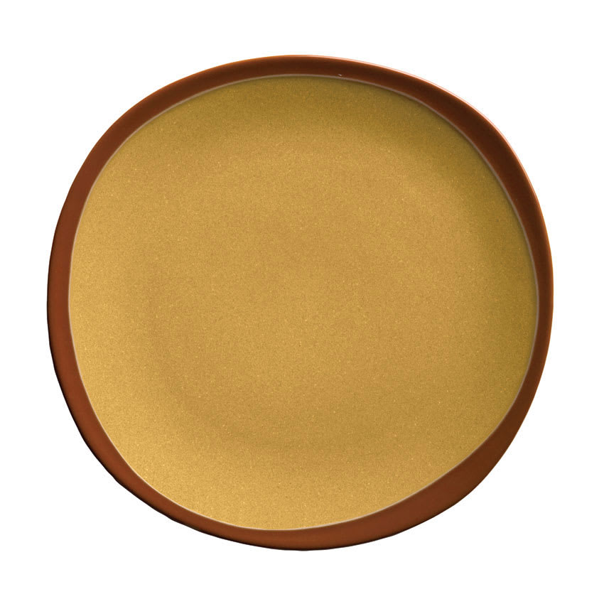 "Syracuse China 922226358 Organic Shaped Plate w/ Narrow Rim, Terracotta, 12x1.12"", Mustard Seed Yellow"