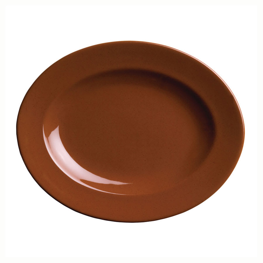 "Syracuse China 922229701 Oval Platter w/ Wide Rim, Clay, 11x8.75"", Terracotta"