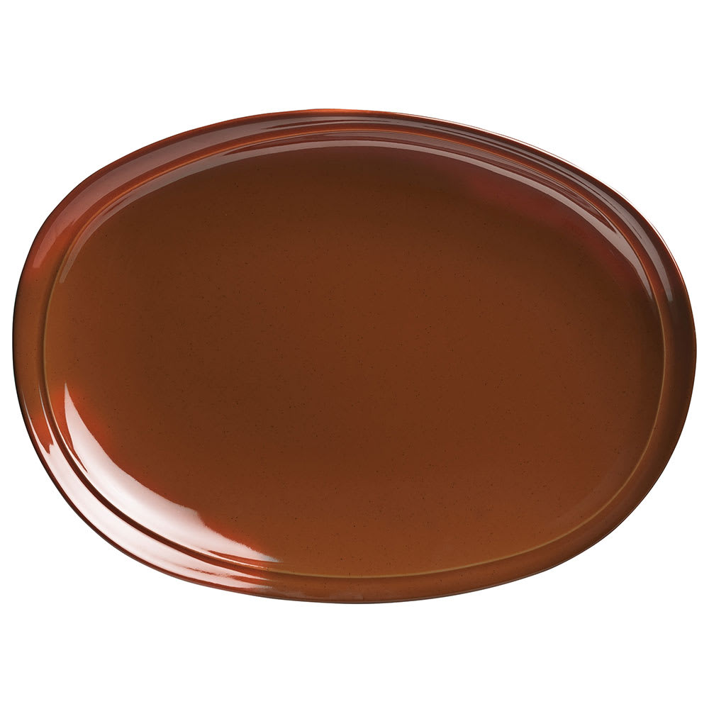 "Syracuse China 922229727 Oval Terracotta Platter - 13.5"" x 9.75"", Terracotta Brown"