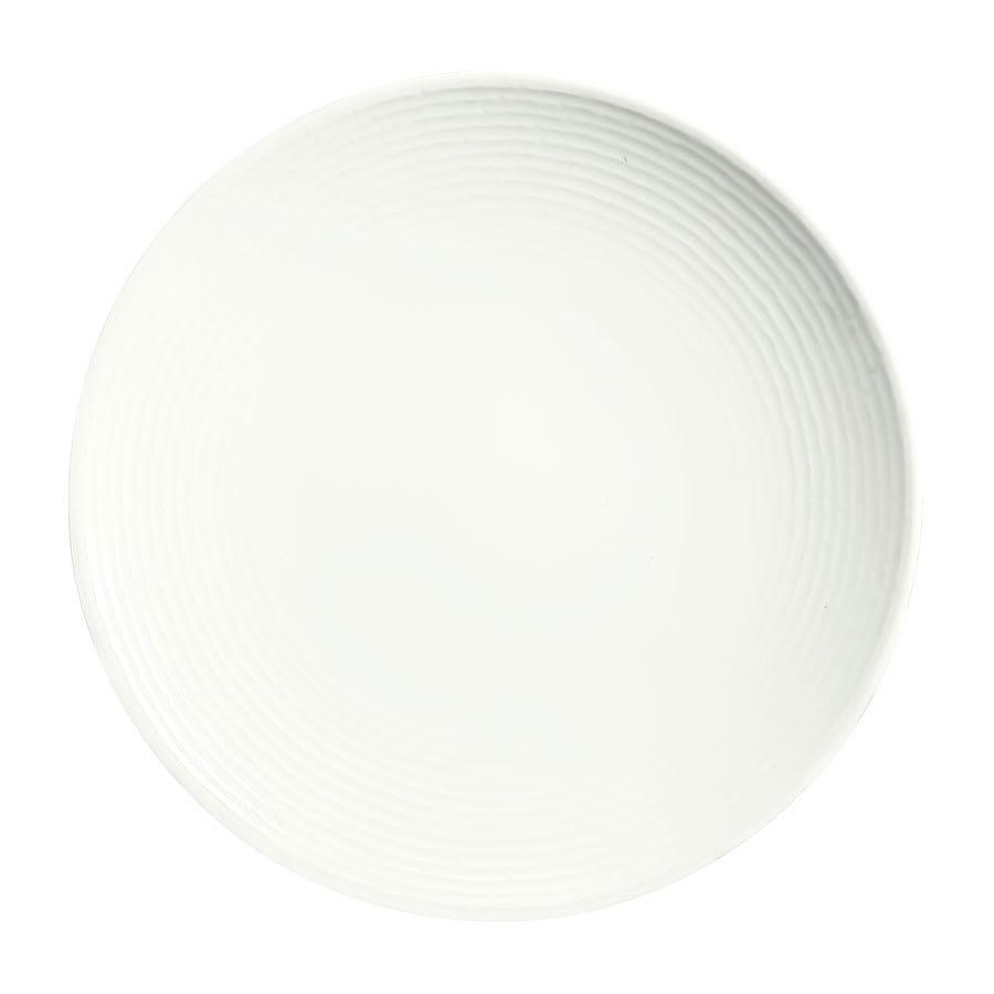 "Syracuse China 935550 105 8.5"" Round China Plate - Coupe, Embossed Rim, Porcelain, Atherton, White"
