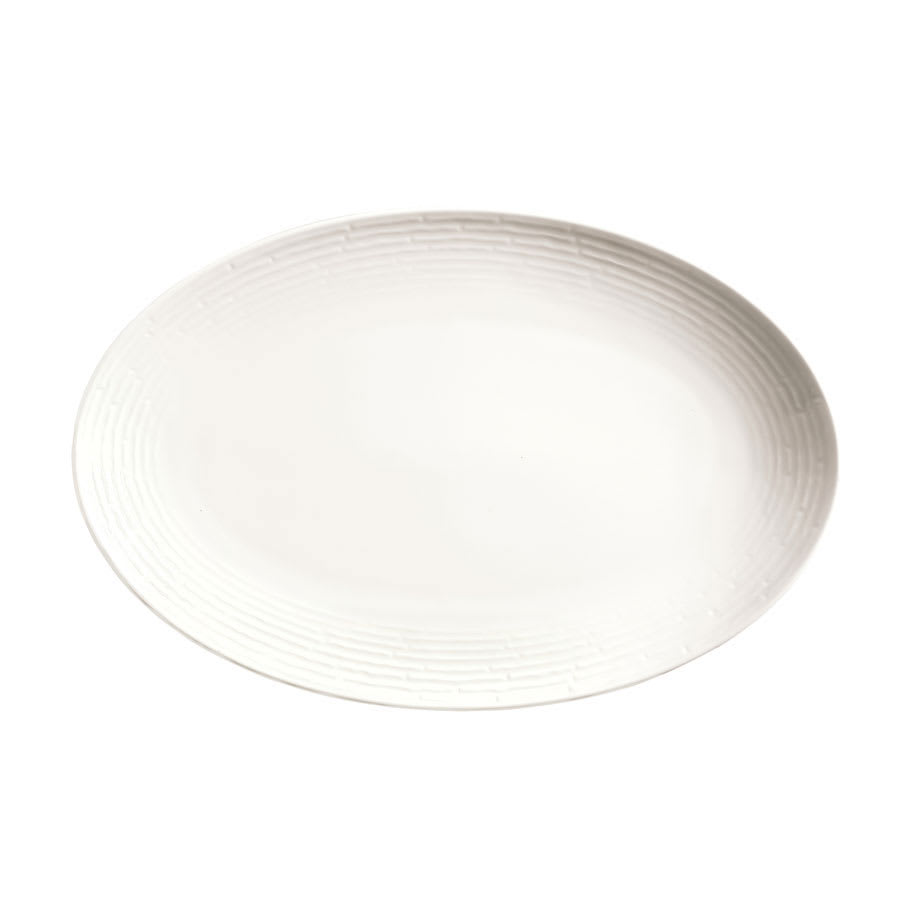 "Syracuse China 935550 114 Oval Platter - Coupe, Embossed Rim, Porcelain, 13x8.75"", Atherton, White"