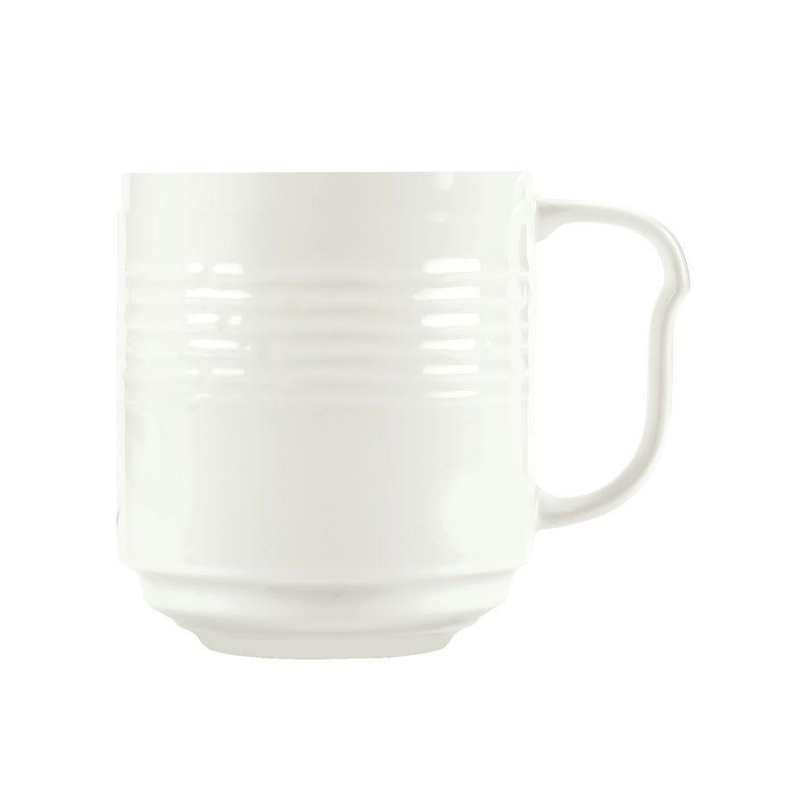 Syracuse China 935550 117 12-oz Stackable Mug - Embossed Rim, Porcelain, Atherton, White