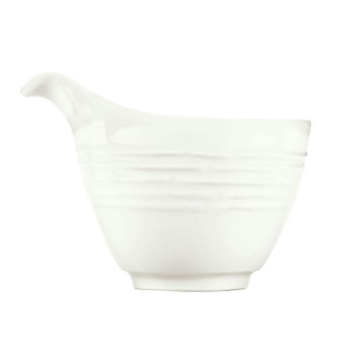 Syracuse China 935550 123 3-oz Creamer - Embossed Rim, Porcelain, Atherton, White