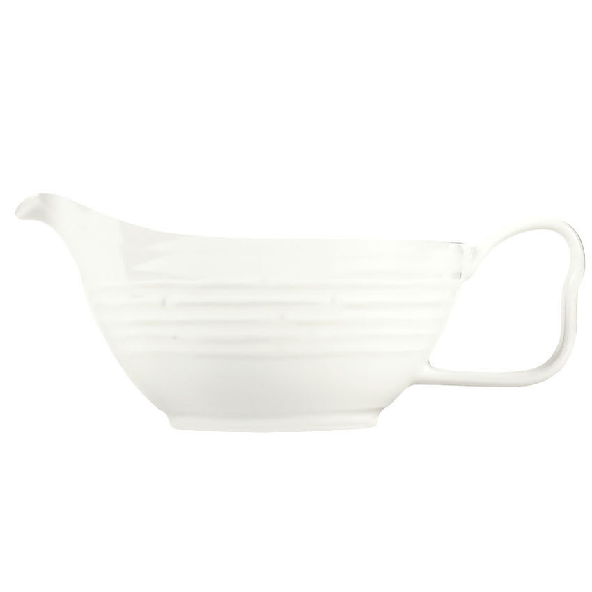 Syracuse China 935550 124 6-oz Handled Sauce Boat - Embossed Rim, Porcelain, Atherton, White