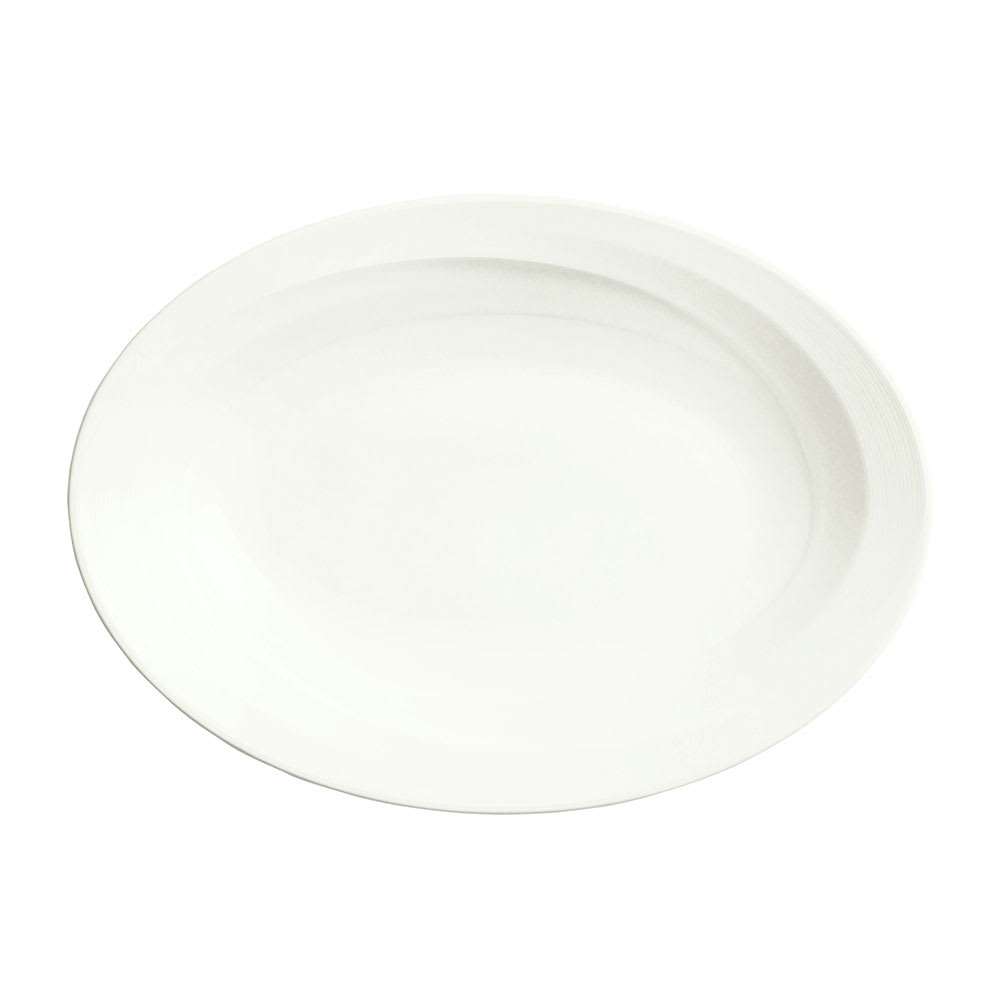 Syracuse China 987659391 Oval Plate, Coupe, w/ Silk Pattern & Royal Rideau, Alumina Body, 13.75x9.75""