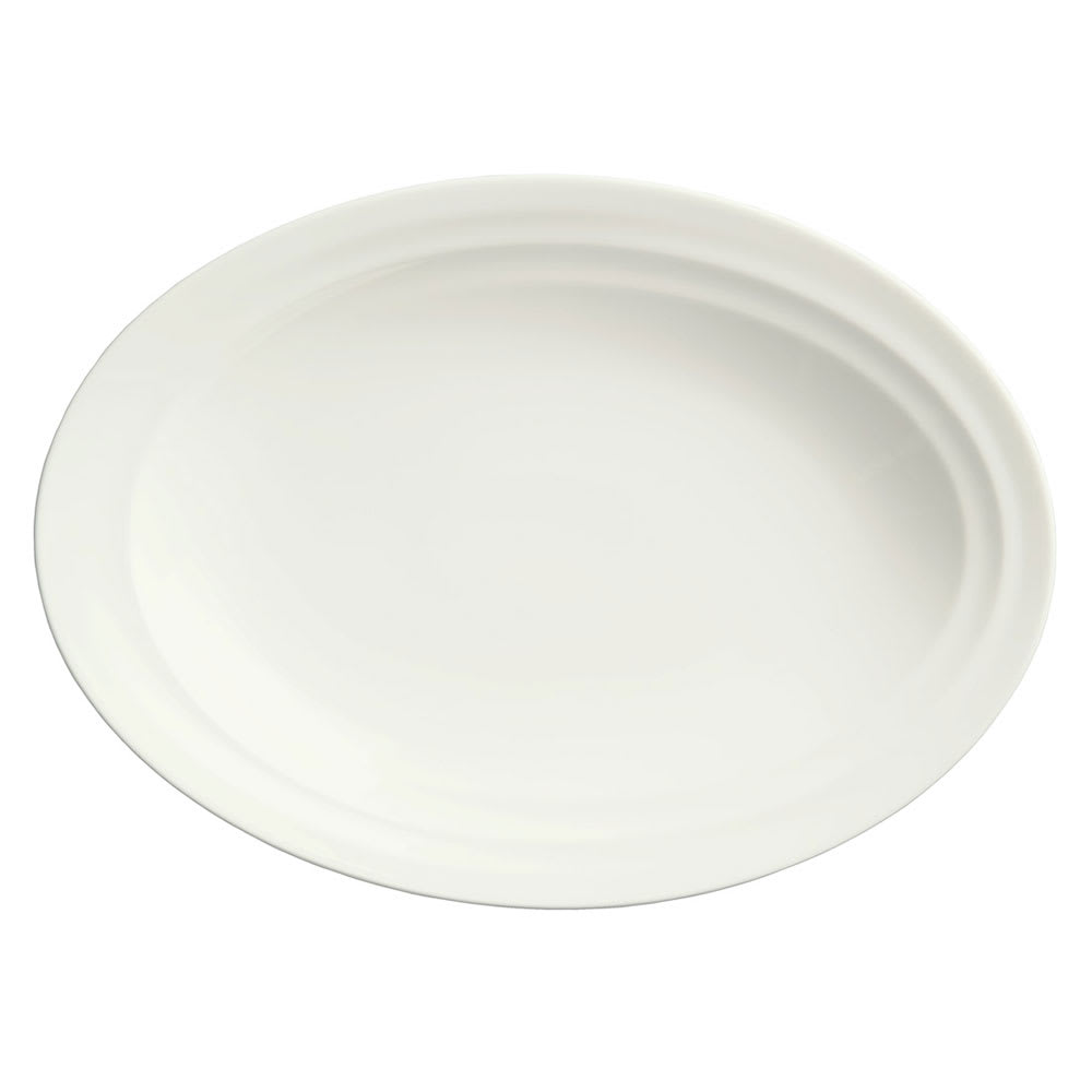 Syracuse China 995679508 Oval Platter w/ Resonate Pattern & Royal Rideau, Alumina Body, 13.75x10""