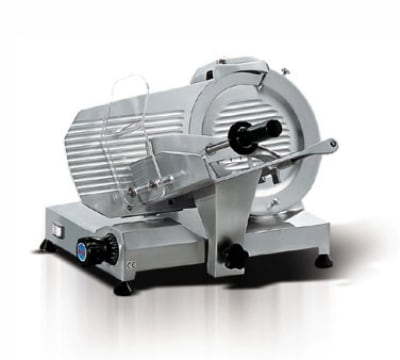 "Eurodib MIRRA250 Mirra 10"" Slicer w/ Removable Built-In Sharpener, Belt Driven, Manual"