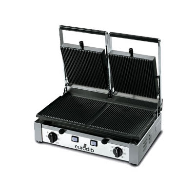 Eurodib PDR3000 Sirman Double Commercial Panini Press w/ Cast Iron Grooved Plates, 208-240v/1ph