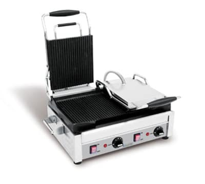 Eurodib SFE02365-240 Double Commercial Panini Press w/ Cast Iron Grooved Plates, 240v/1ph