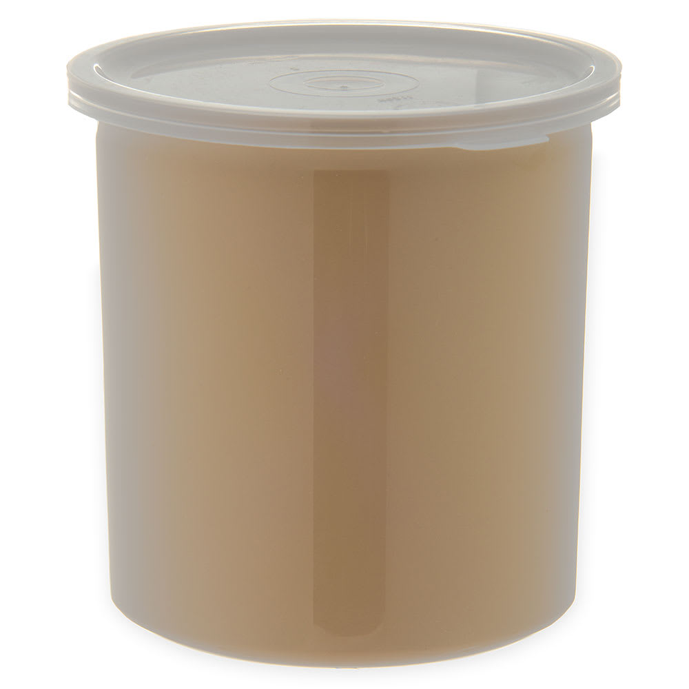 Carlisle 034106 1.2 qt Poly-Tuf Crock - Snap-On Lid, Translucent/Beige