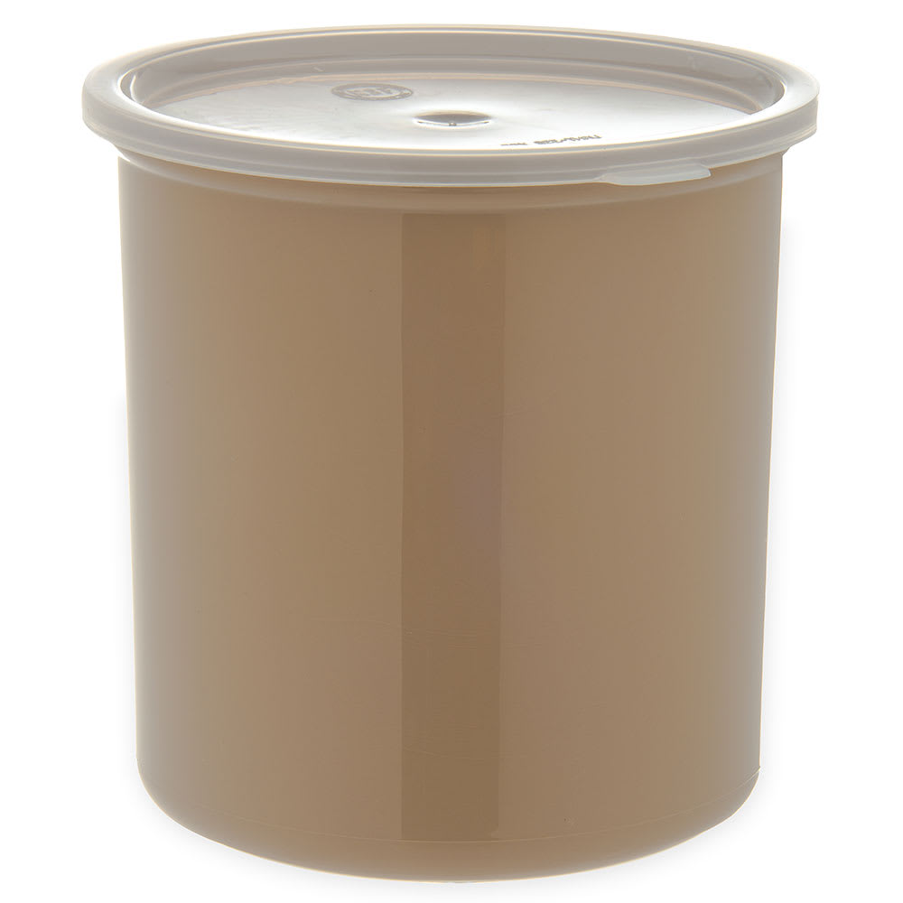 Carlisle 034206 2.7-qt Poly-Tuf Crock - Snap-On Lid, Translucent/Beige