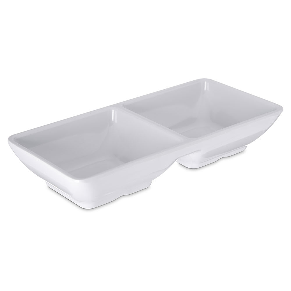 Carlisle 086202 4 oz Double-Compartment Ramekin - Melamine, White