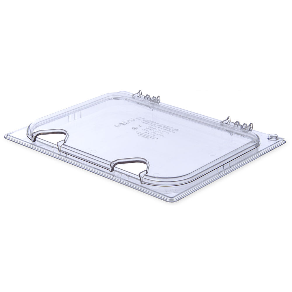Carlisle 10240Z07 Universal Half-Size Hinged Food Pan Lid - Notched, Polycarbonate, Clear