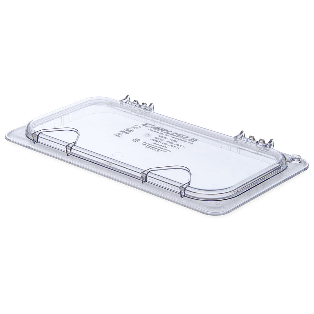 Carlisle 10278Z07 Universal Third-Size Hinged Food Pan Lid - Polycarbonate, Clear