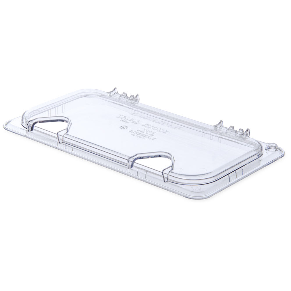 Carlisle 10280Z07 Universal Third-Size Hinged Food Pan Lid - Notched, Polycarbonate, Clear