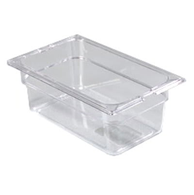 "Carlisle 1028107 1/4 Size Food Pan - 4""D, Clear"