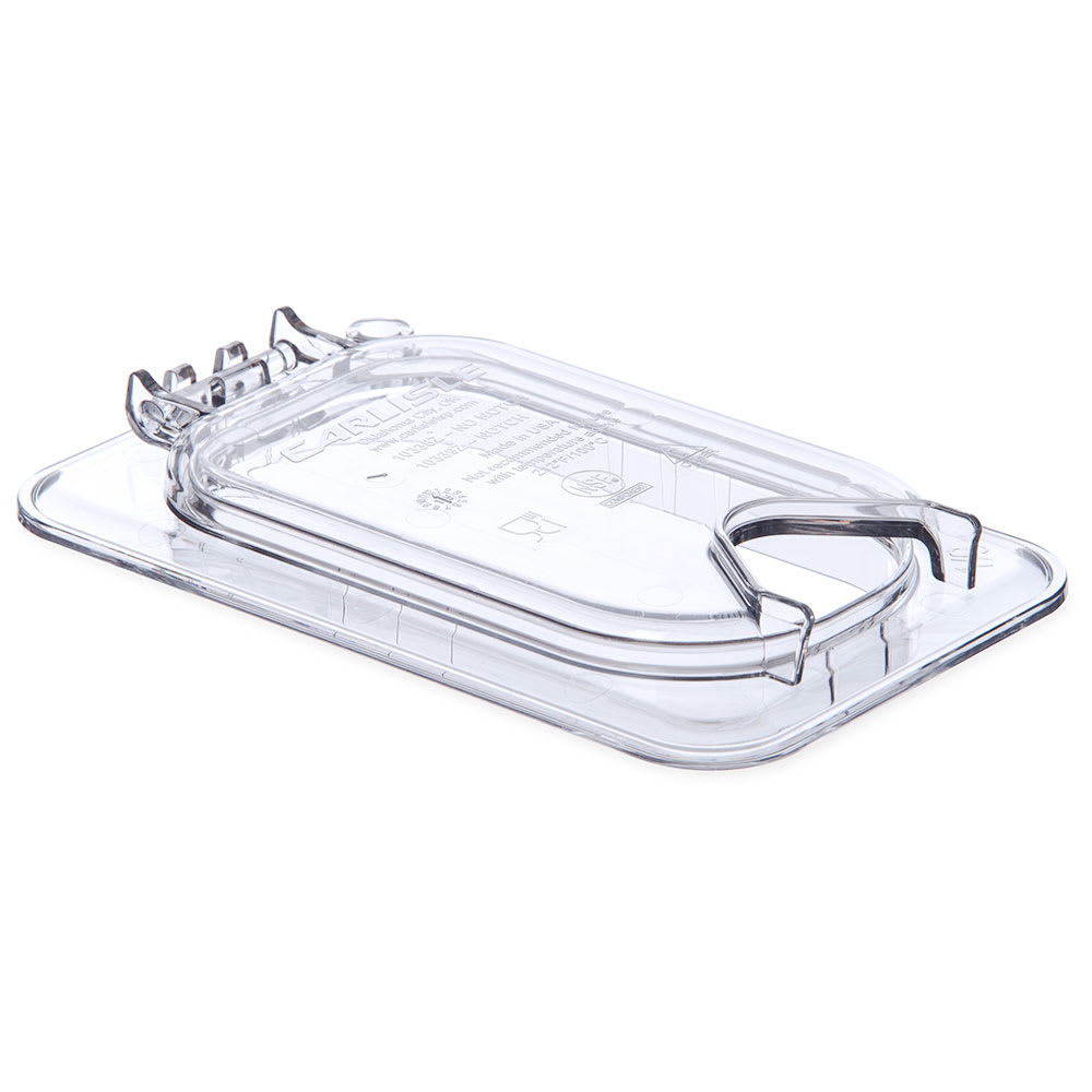 Carlisle 10339Z07 Universal Ninth-Size Hinged Food Pan Lid - Notched, Polycarbonate, Clear