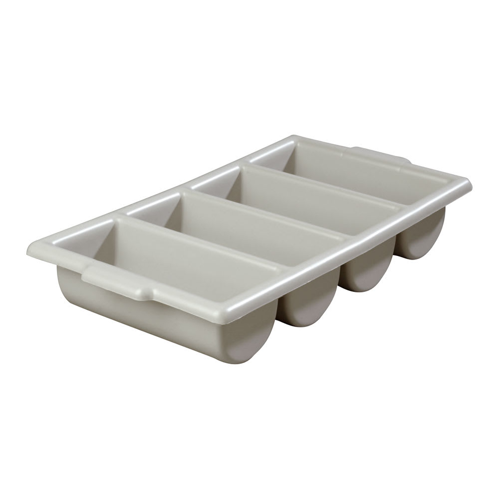 "Carlisle 107123 Silverware Tray - 4 Compartment, 21 1/4x11 1/2x3 3/4"" Gray"