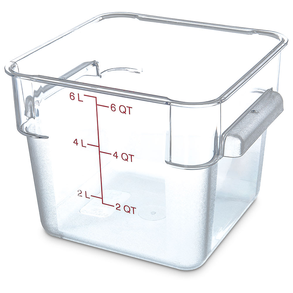Carlisle 1072207 6 qt Square Food Storage Container - Clear