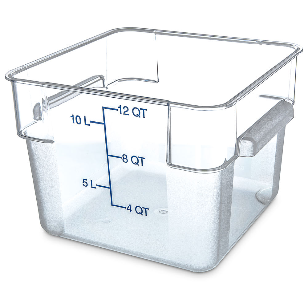 Carlisle 1072407 12 qt Square Food Storage Container - Clear