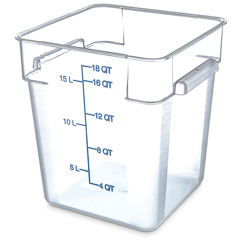 Carlisle 1072507 18 qt Square Food Storage Container - Clear