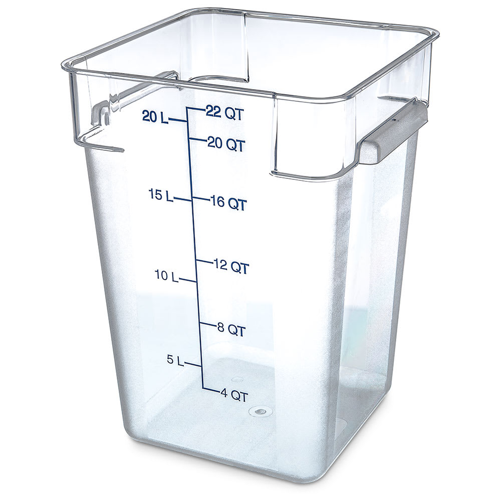 Carlisle 1072607 22-qt Square Food Storage Container - Clear