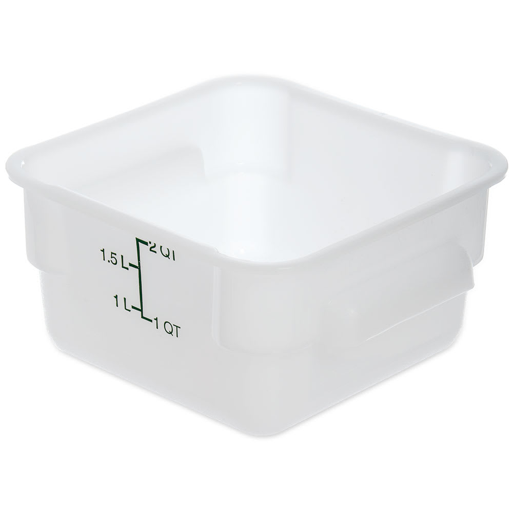 Carlisle 1073002 2 qt Square Food Storage Container - Stackable, White