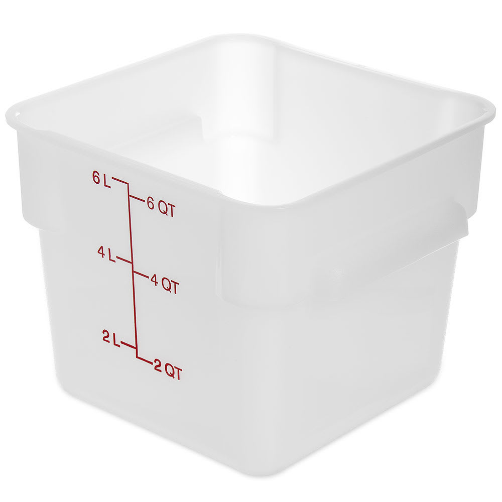 Carlisle 1073202 6 qt Square Food Storage Container - Stackable, White