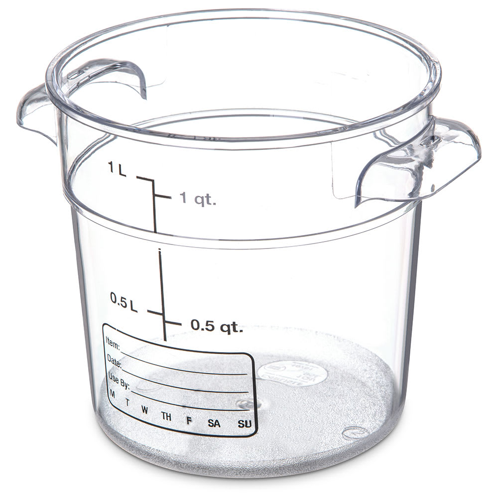 Carlisle 1076107 1 qt Round Food Storage Container - Stackable, Clear