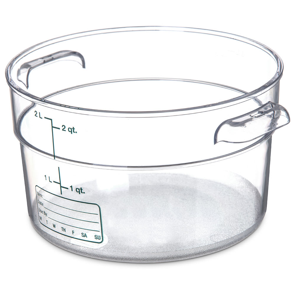 Carlisle 1076307 2 qt Round Food Storage Container - Stackable, Clear