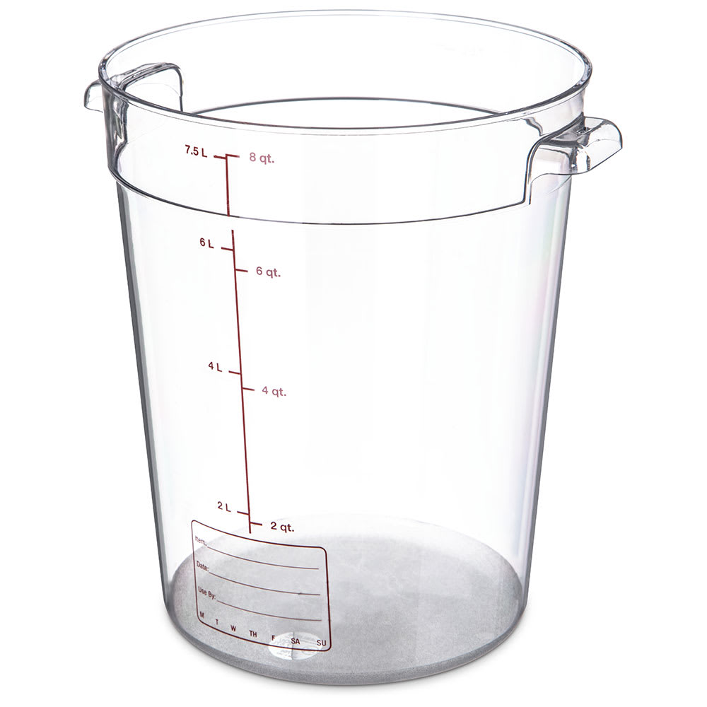 Carlisle 1076607 8-qt Round Container - Clear