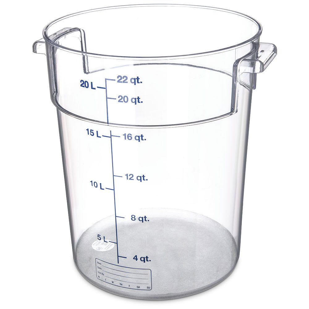 Carlisle 1076907 22 qt Round Container - Clear