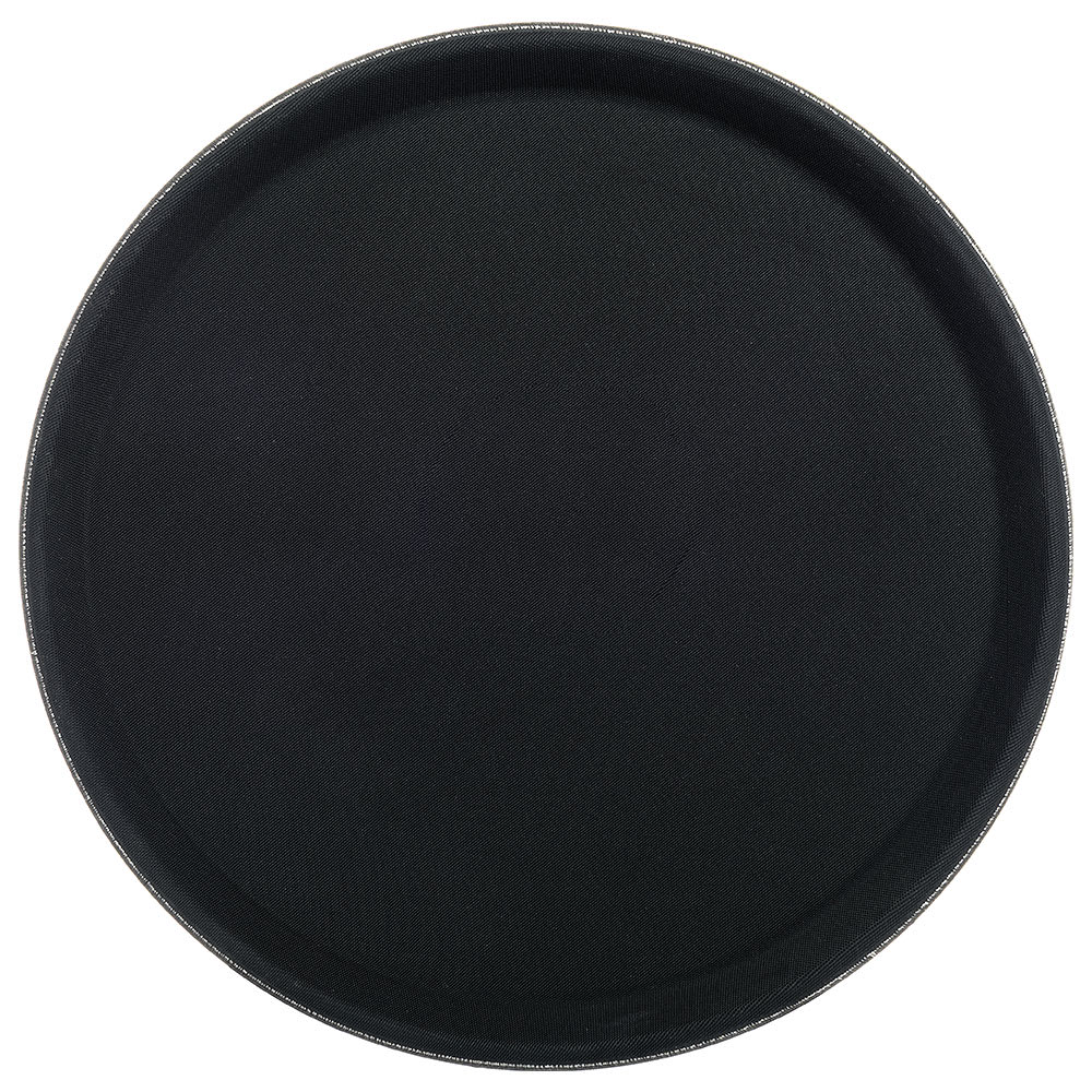 "Carlisle 1100GL004 11 1/4"" Round Serving Tray - Rubber Liner, Black"