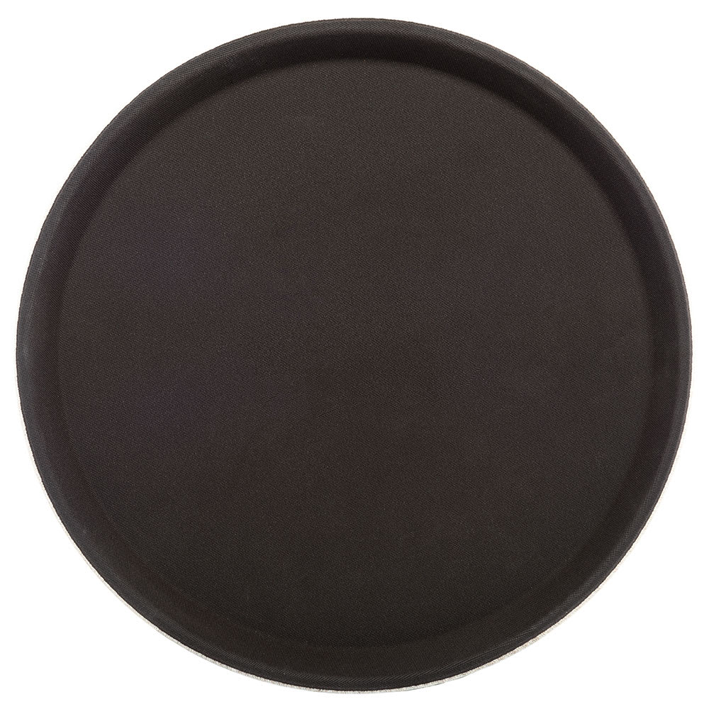 """Carlisle 1100GL076 11 1/4"""" Round Serving Tray - Rubber Liner, Tan"""