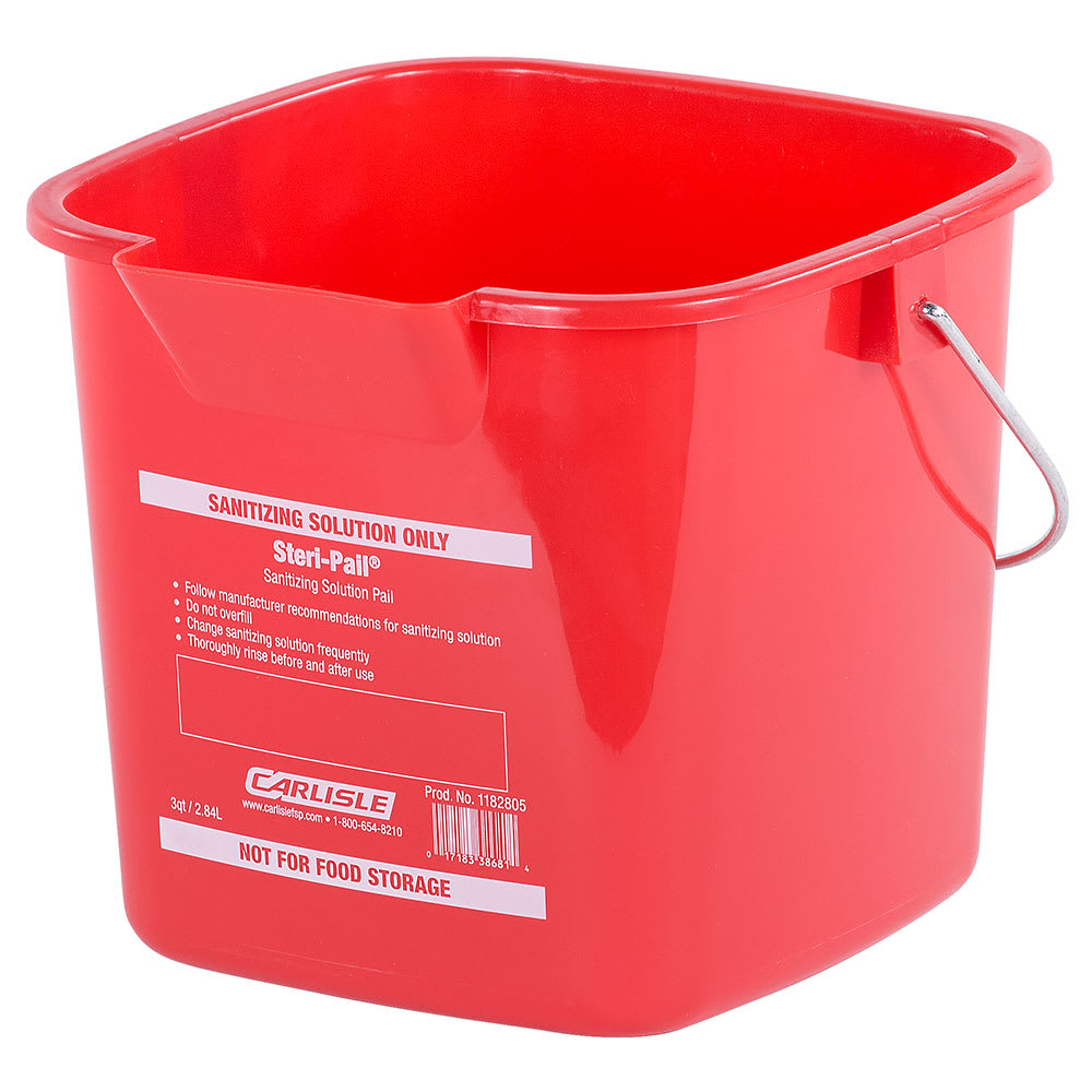Carlisle 1182805 3-qt Square Sanitizing Pail - Red