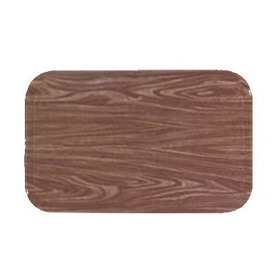"Carlisle 1216LWFG063 Rectangular Cafeteria Tray - Low-Edge, 16-3/8x12"" Pecan Woodgrain"