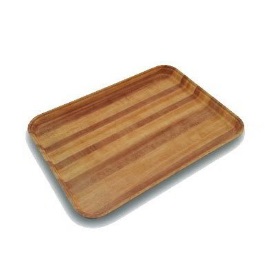 "Carlisle 1216LWFG092 Rectangular Cafeteria Tray - Low-Edge, 16-3/8x12"" Butcher Block Woodgrain"