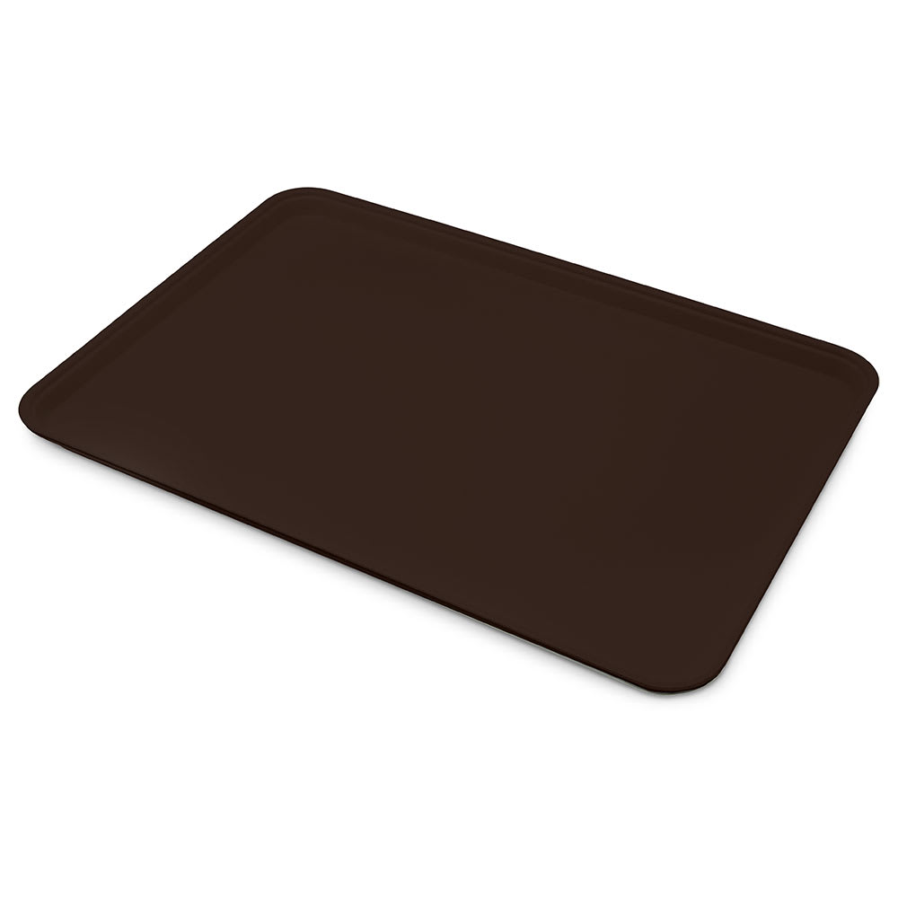 "Carlisle 1318FG127 Rectangular Display/Bakery Tray - 12 3/4x17 3/4x1"" Chocolate"