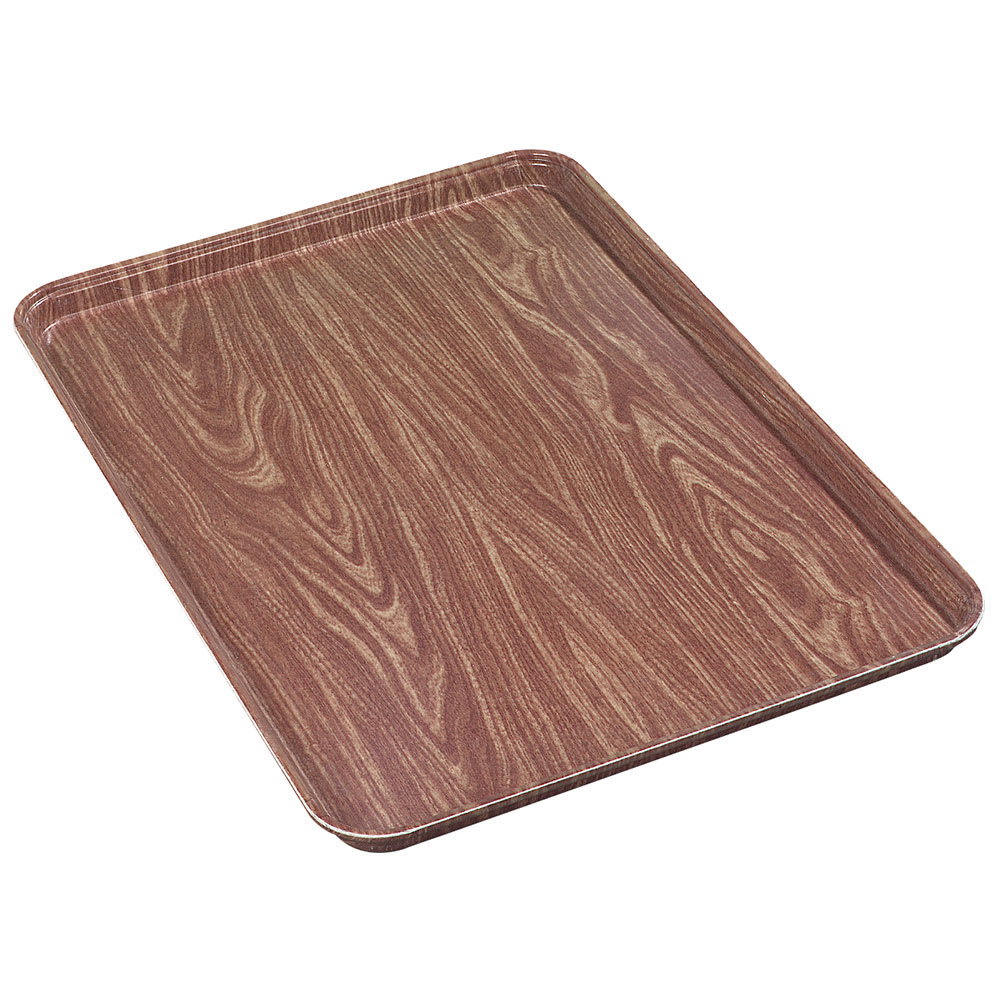 "Carlisle 1318WFG063 Rectangular Display/Bakery Tray - 12 3/4x17 3/4x1"" Pecan Woodgrain"