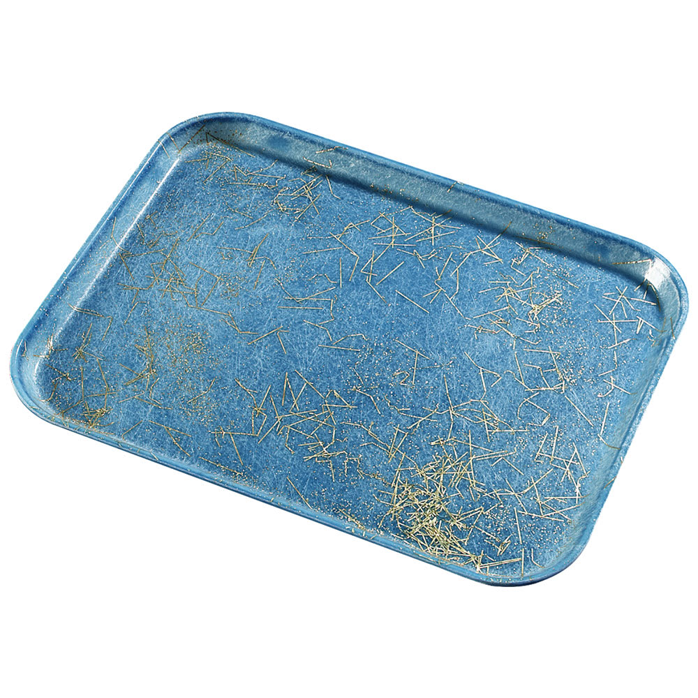 "Carlisle 1410DFG029 Rectangular Cafeteria Tray - 13 3/4x10 5/8"" Starfire Blue"