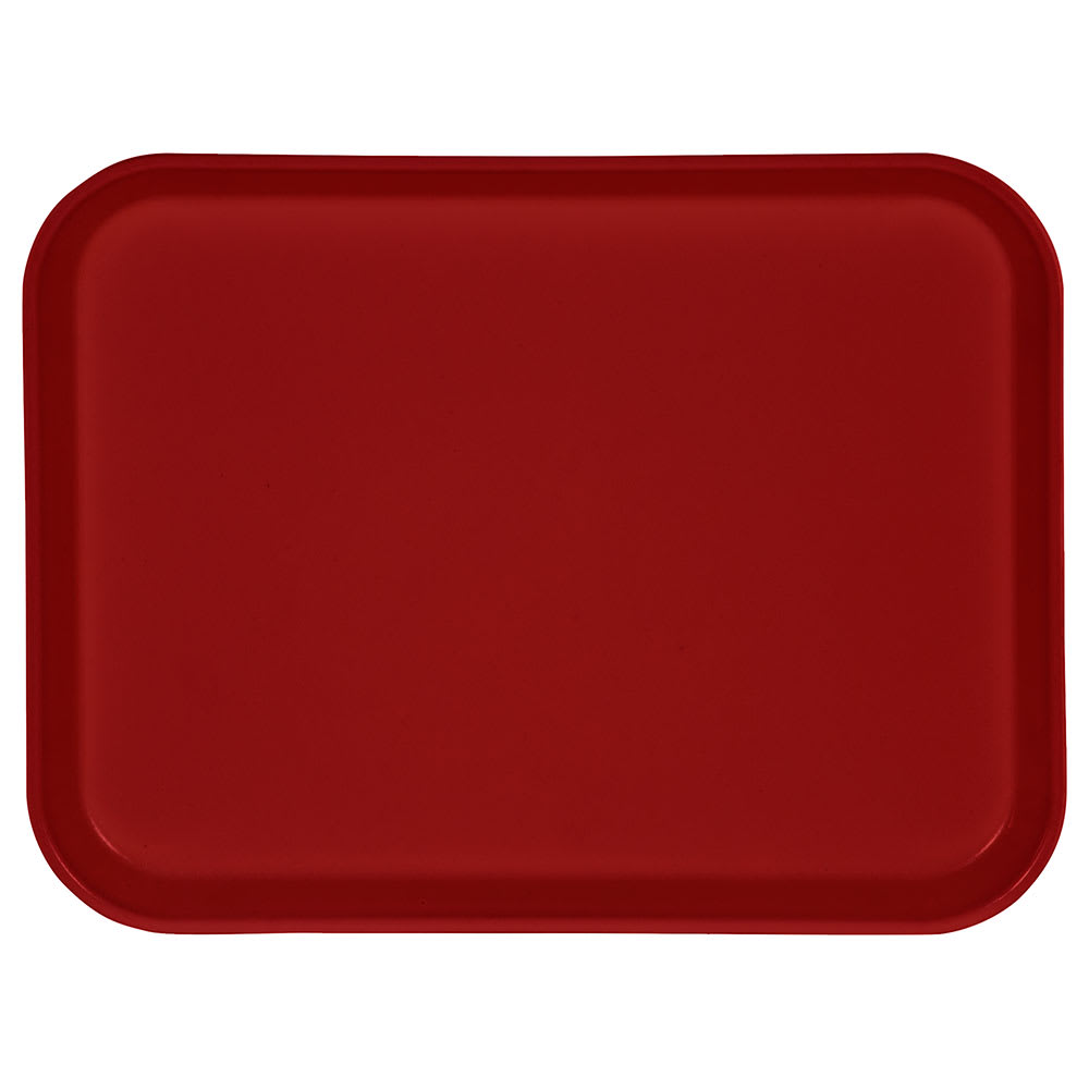 "Carlisle 1410FG017 Fiberglass Cafeteria Tray -  13.75""L x 10.6""W, Red"