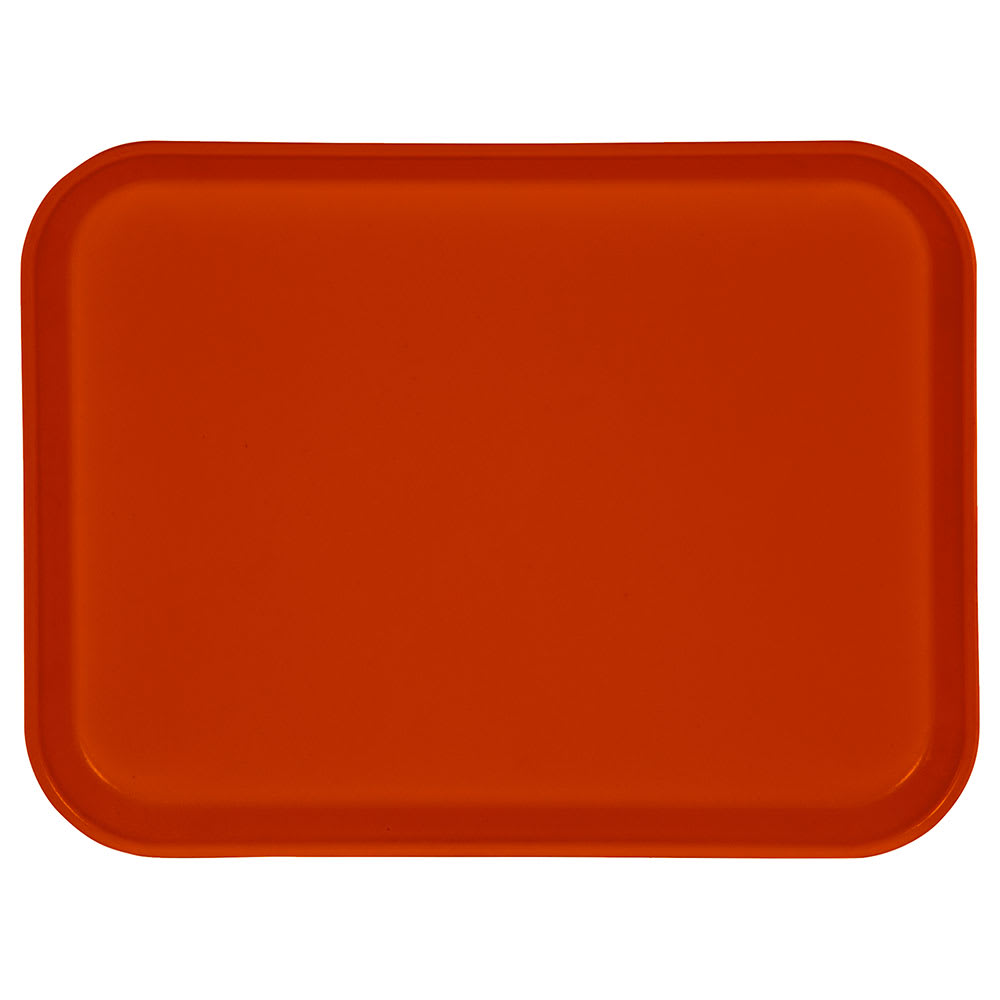 "Carlisle 1410FG018 Rectangular Cafeteria Tray - 13 3/4x10 5/8"" Orange"
