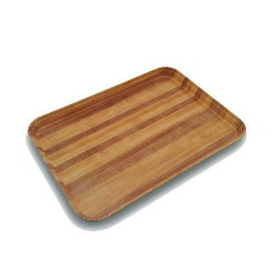 "Carlisle 1418LWFG092 Rectangular Cafeteria Tray - Low-Edge, 18x14"" Butcher Block Woodgrain"