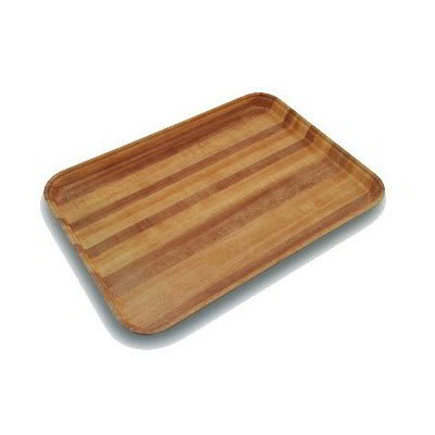 "Carlisle 1520LWFG092 Rectangular Cafeteria Tray - Low-Edge, 20-1/4x15"" Butcher Block Woodgrain"