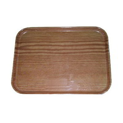 "Carlisle 1520LWFG094 Rectangular Cafeteria Tray - Low-Edge, 20-1/4x15"" Redwood Woodgrain"