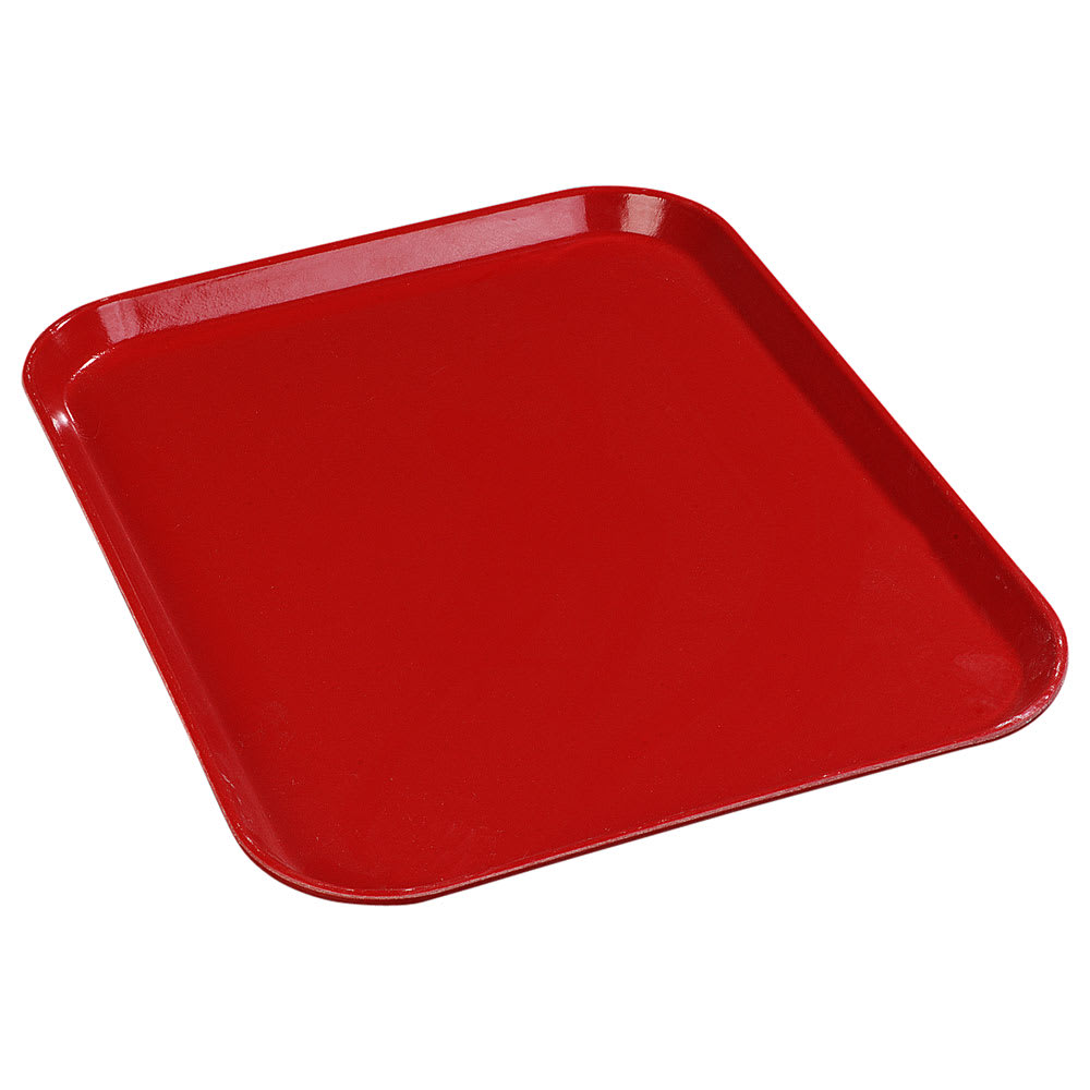 "Carlisle 1612FG017 Rectangular Cafeteria Tray - 16 3/8x12"" Red"