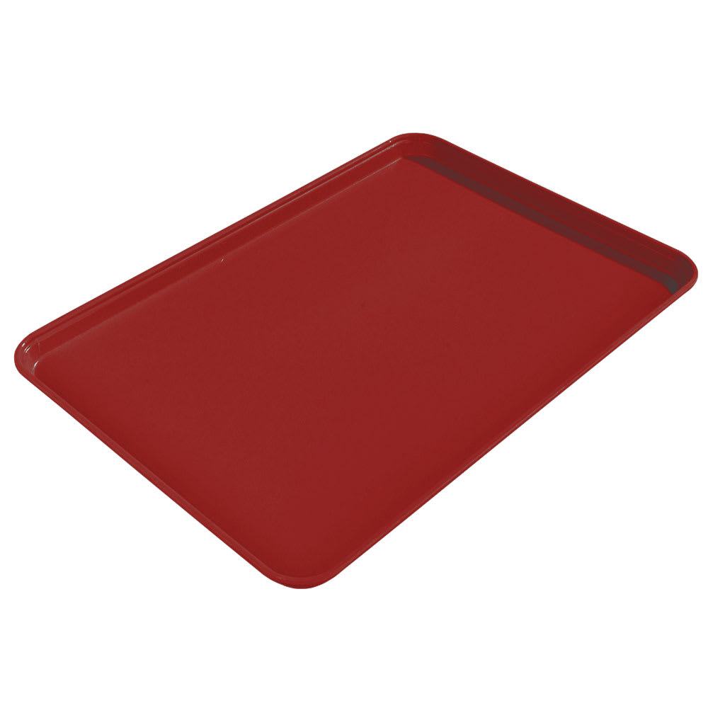 "Carlisle 1612FG97030 Rectangular Cafeteria Tray - 16-3/8x12"" Cherry Red"