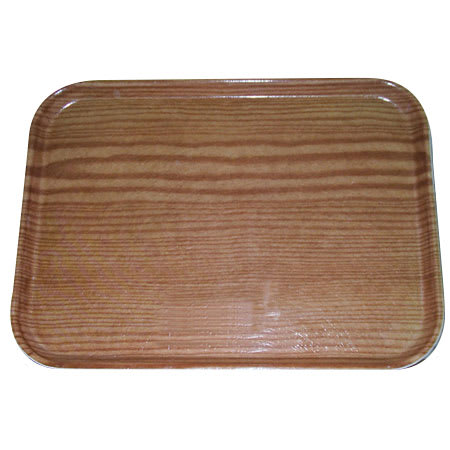 "Carlisle 1612WFG094 Rectangular Cafeteria Tray - 16-3/8x12"" Redwood Woodgrain"